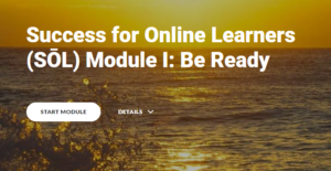 Screenshot of the Success for Online Learners Module