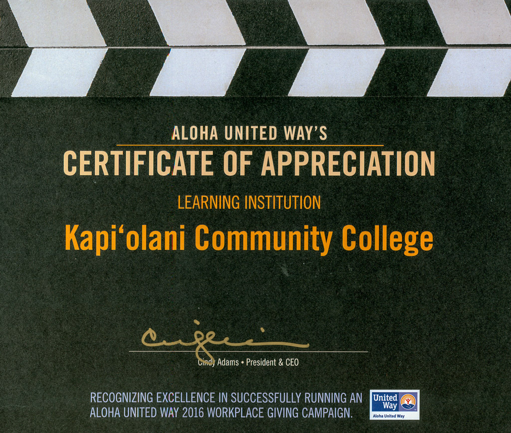 Aloha United Way's Certificate of Appreciation