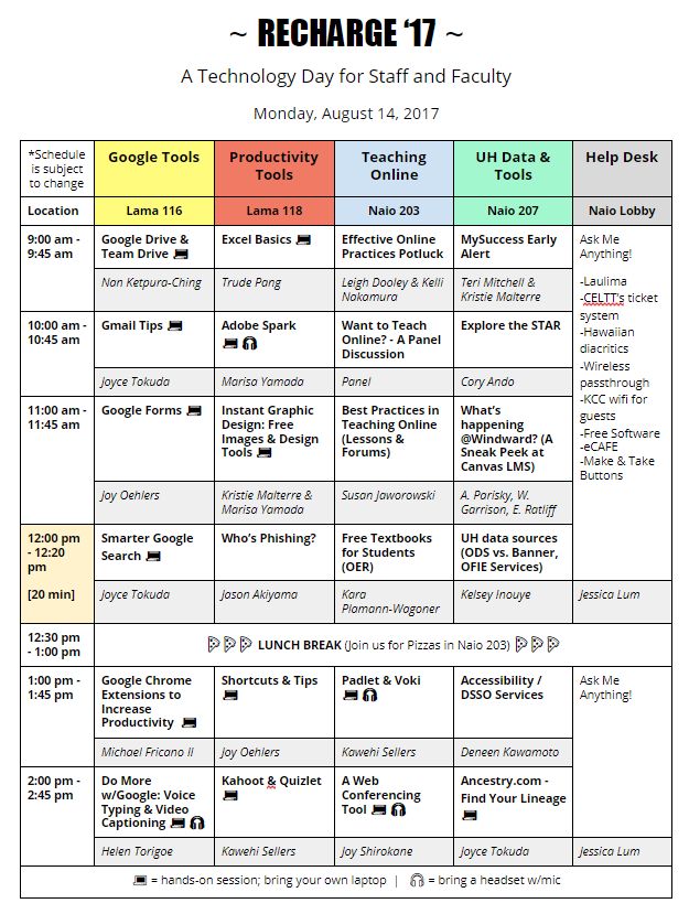 RECHARGE 17 Technology Day Schedule