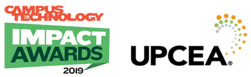 TOPP Award logos Campus Technology Impact Awards 2019 and UPCEA 2020.